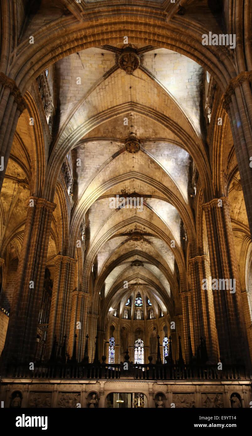 Spagna. La Catalogna. La cattedrale di Barcellona. All'interno. Abside. Il XIII secolo. Immagini Stock