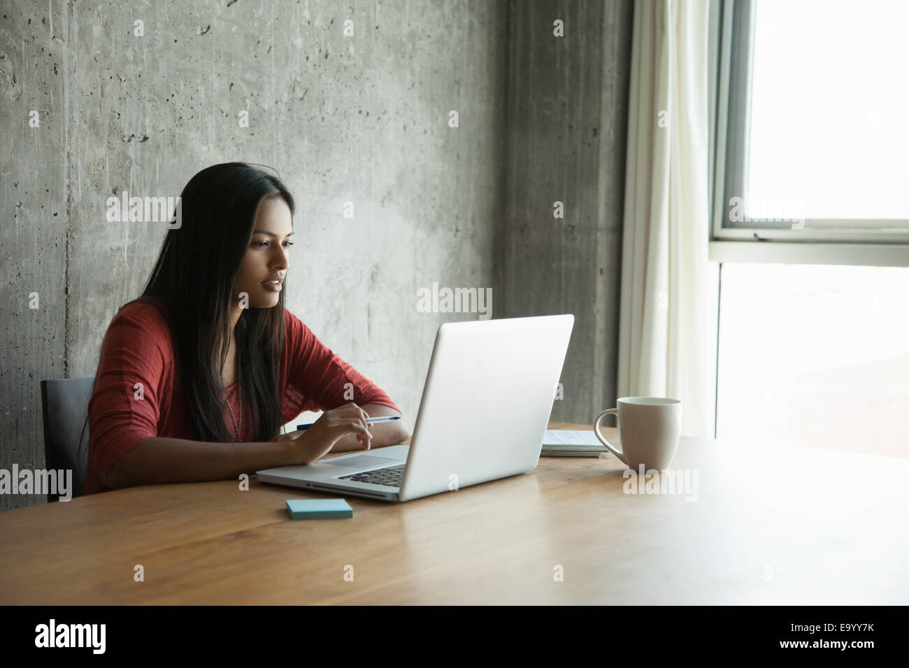 Donna che utilizza portatile a casa Immagini Stock