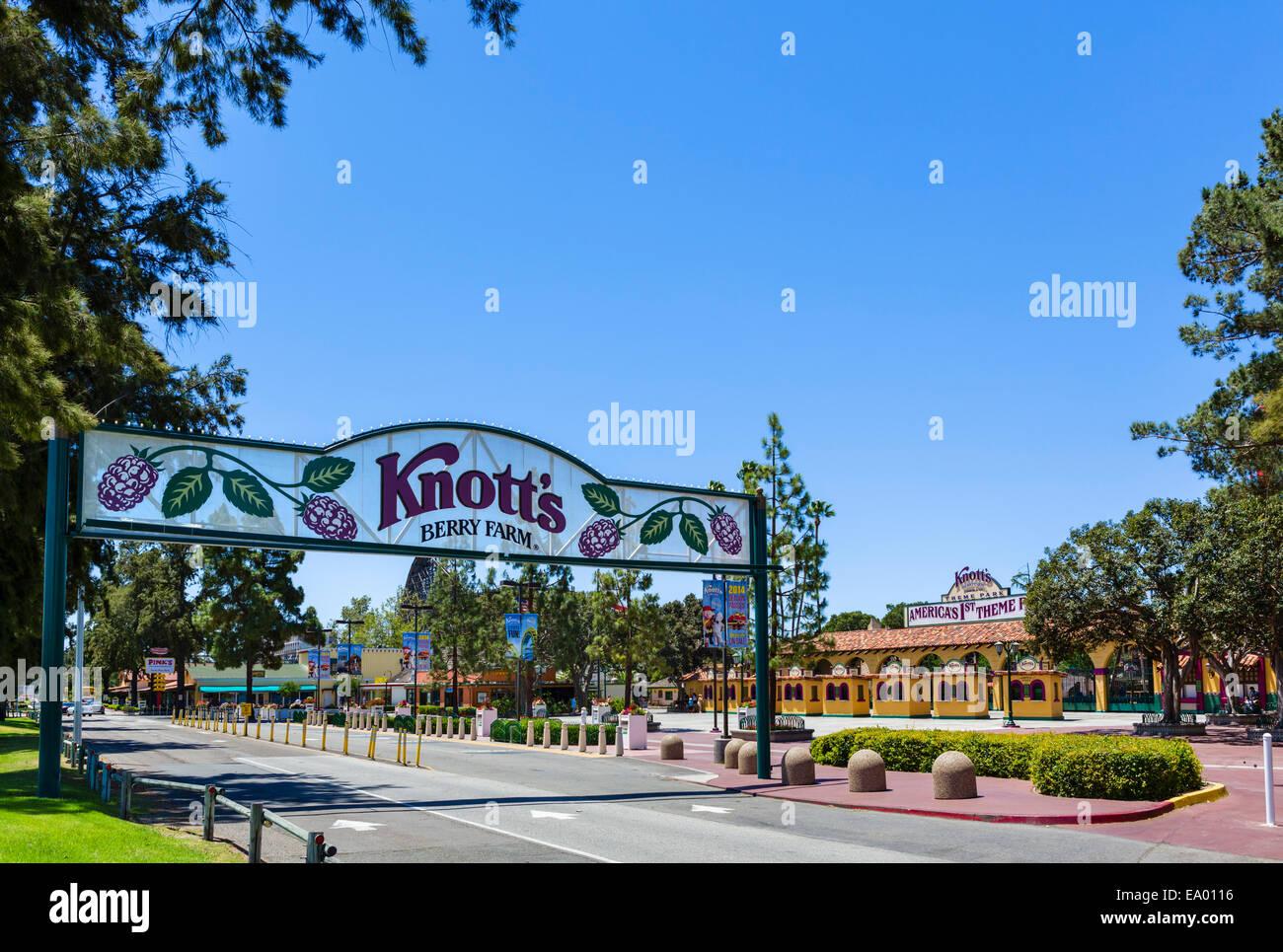 Ingresso alla Knott's Berry Farm, Buena Park, Orange County, nei pressi di Los Angeles, California, Stati Uniti Immagini Stock
