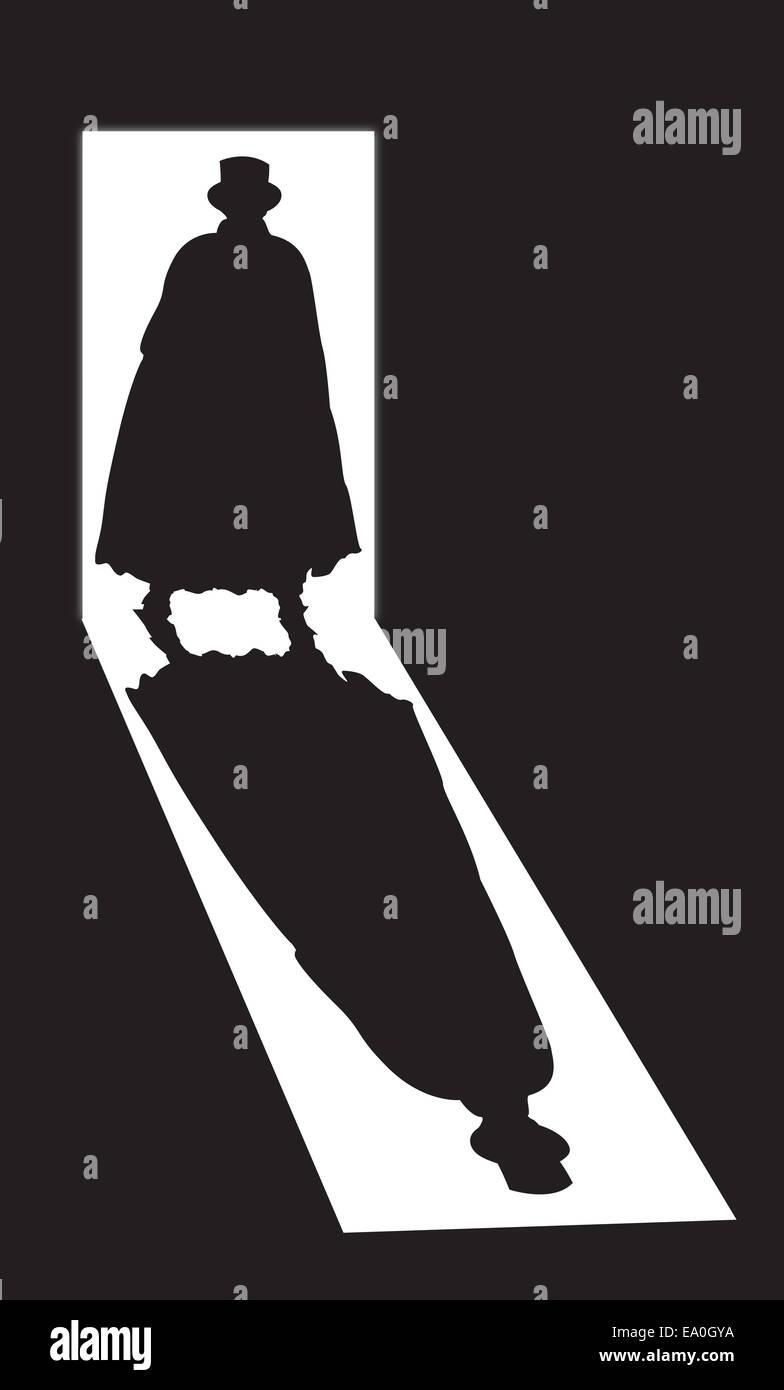 Una silhouette di Jack lo squartatore in una porta su uno sfondo nero Immagini Stock