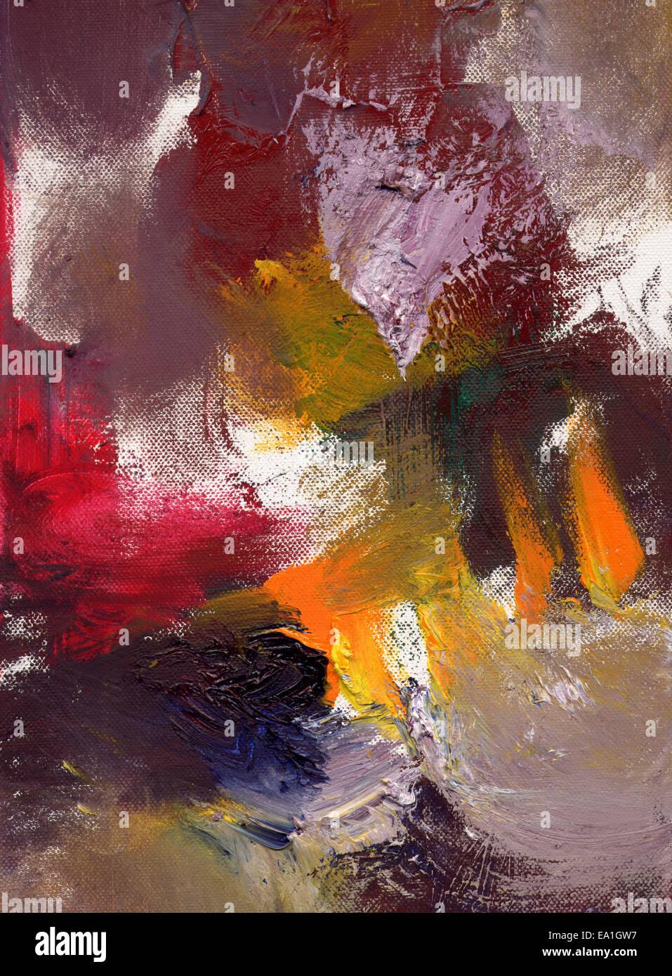 Abstract il dipinto a olio su tela Immagini Stock