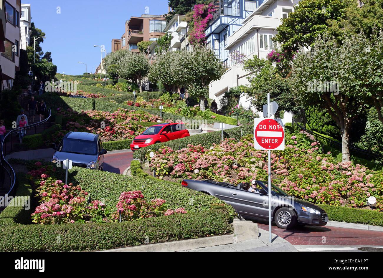 San Francisco : curve di Lombard Street. San Francisco California CA USA Immagini Stock