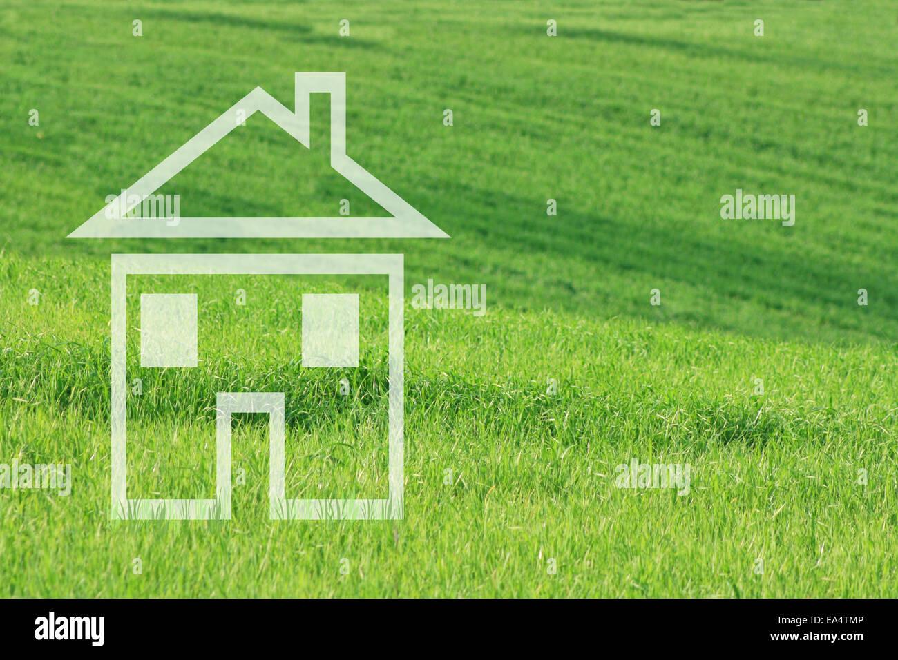 Casa da sogno in verde prato Immagini Stock