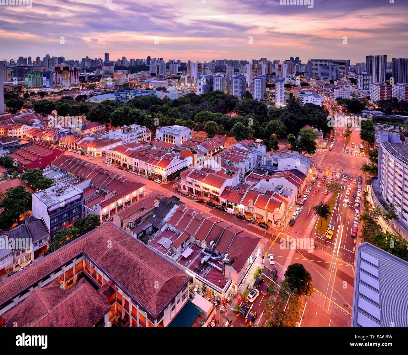 Singapore, lo skyline della citta' al tramonto Immagini Stock