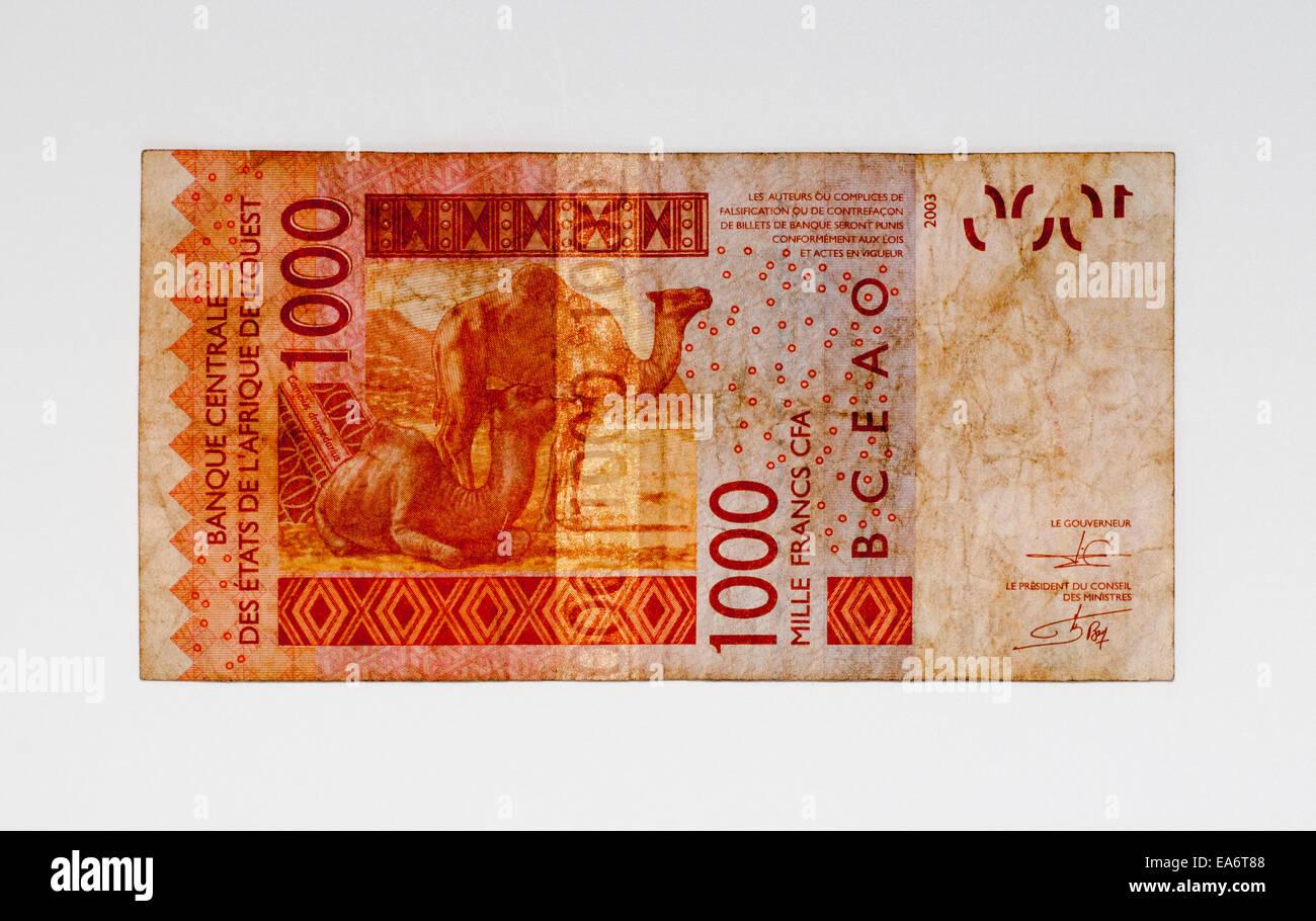 La Costa d Avorio 1000 Mille Franco nota banca della Costa d Avorio Immagini Stock
