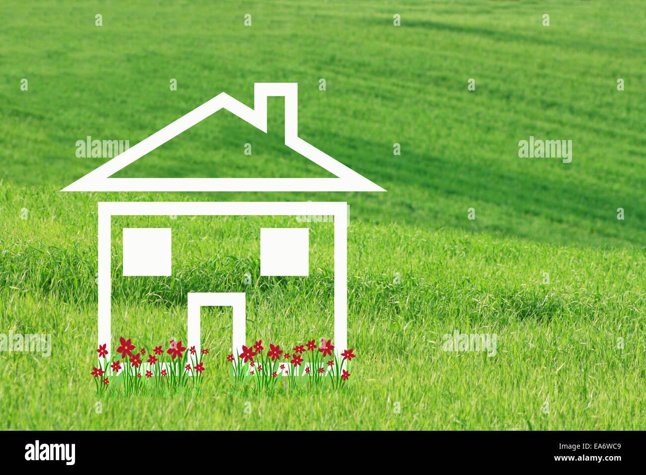 Casa da sogno con fiori di colore rosso Immagini Stock