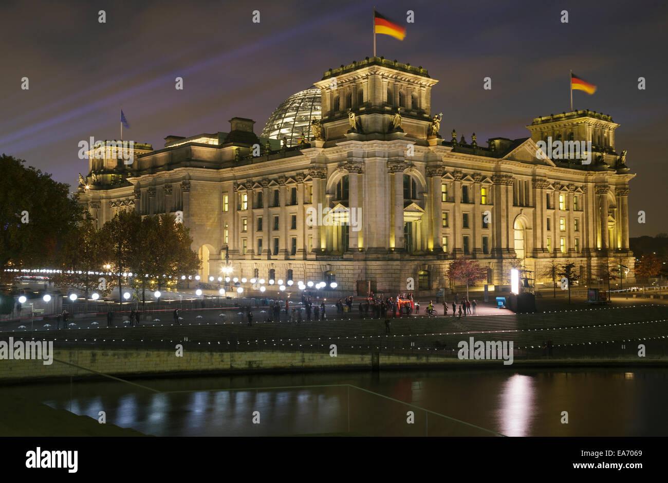 Berlino, Germania. 7 Novembre, 2014. Xxv anniversario della caduta del muro di Berlino, Berlino, Germania. Il confine Immagini Stock