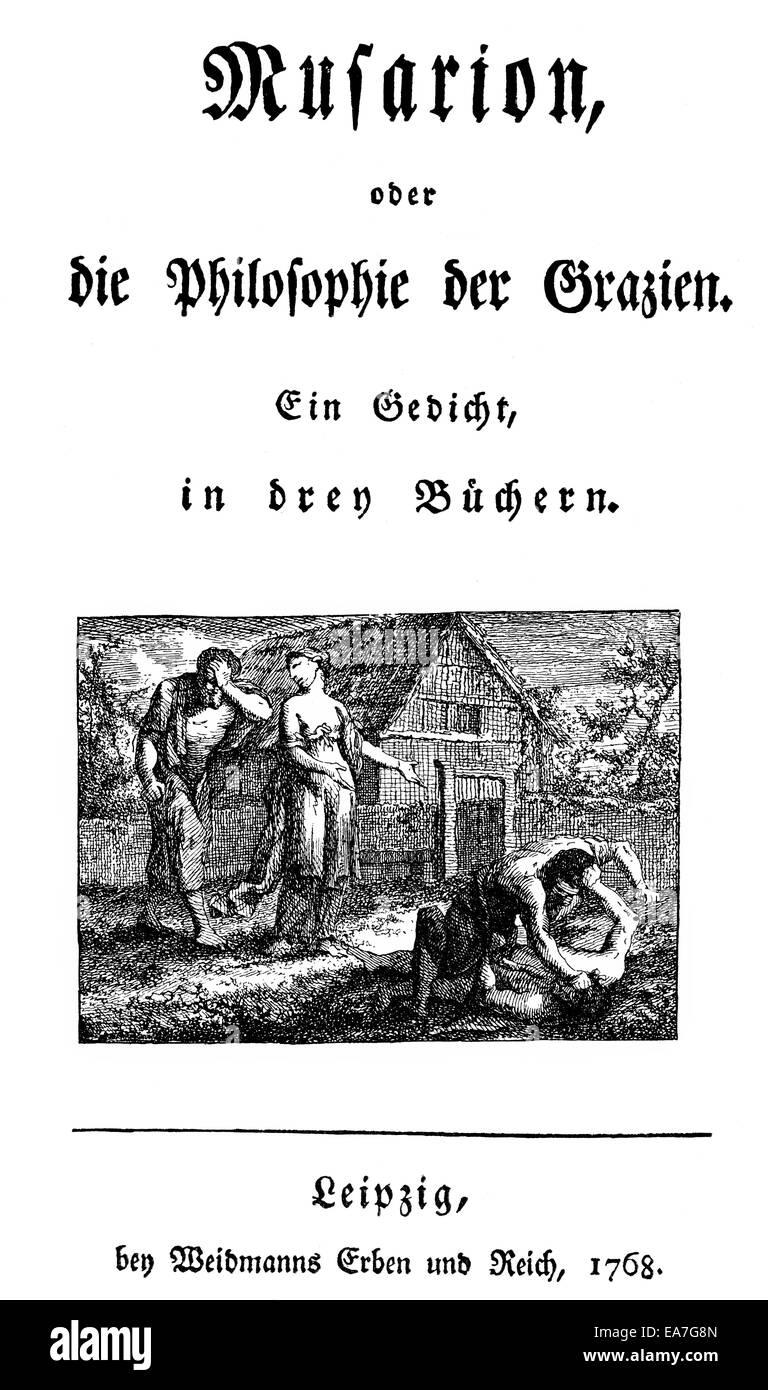 Stampa storico, di Christoph Martin Wieland, 1733 - 1813, un poeta tedesco, traduttore e redattore del secolo dei Immagini Stock