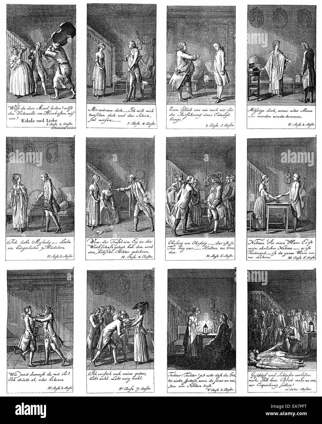 Illustrazioni di Kabale und Liebe, di amore e di intrigo, 1786 da Johann Christoph Friedrich von Schiller, Historische Immagini Stock