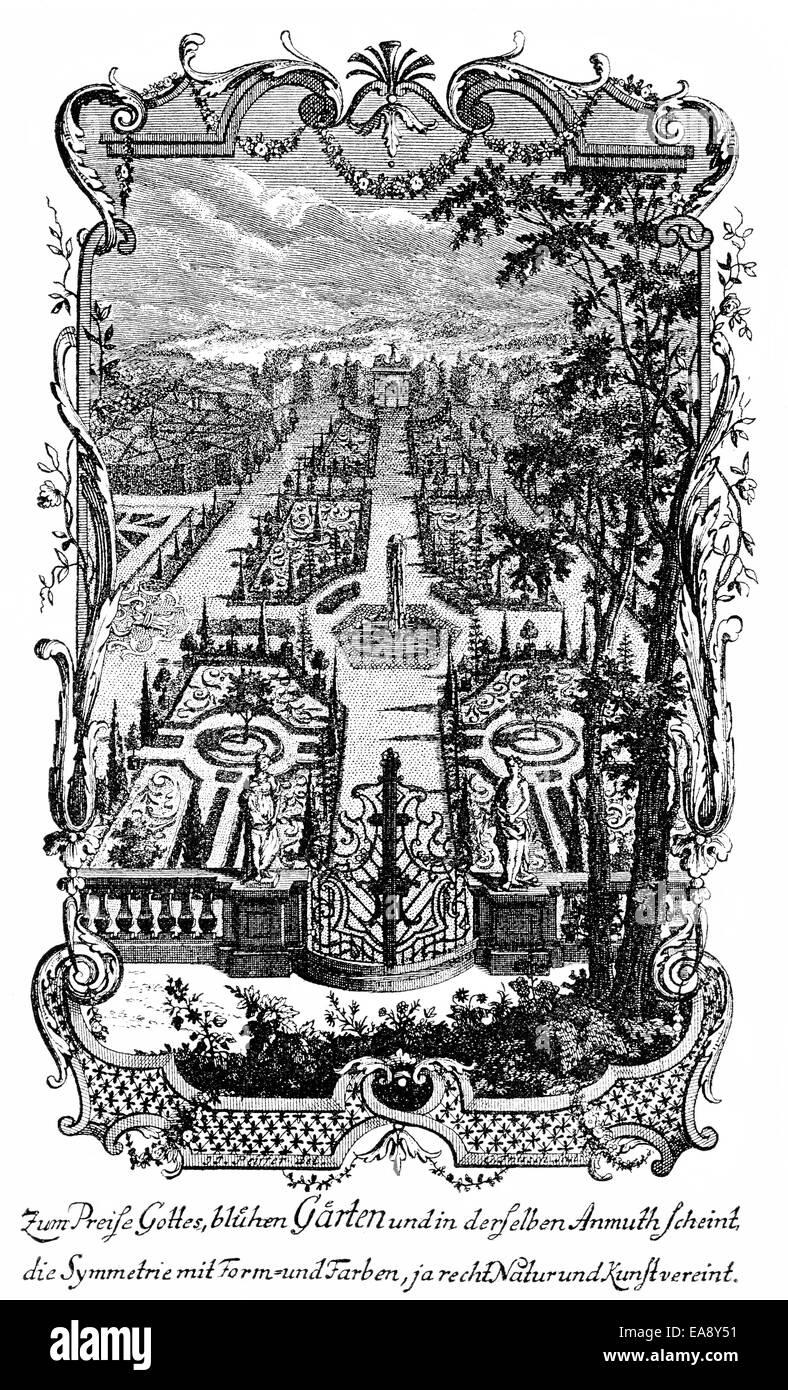 Storico, stampa pagina di Irdisches Vergnuegen in Gott, una raccolta di poesie, 1721, da Barthold Heinrich Brockes Immagini Stock