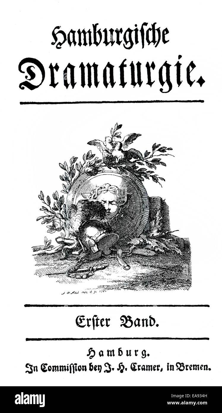Stampa storico, 1767, pagina titolo da Gotthold Ephraim Lessing, 1729 - 1781, un poeta del tedesco illuminismo, Immagini Stock