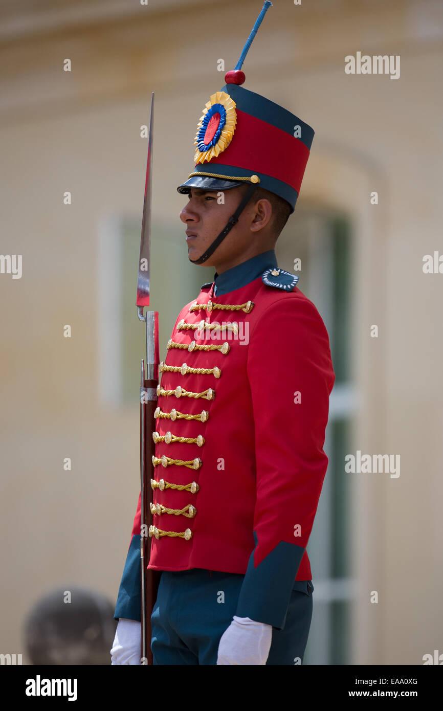 Una sentinella sul dazio in cerimoniali di uniforme al Presidente';s Palace a Bogotà, in Colombia. Immagini Stock