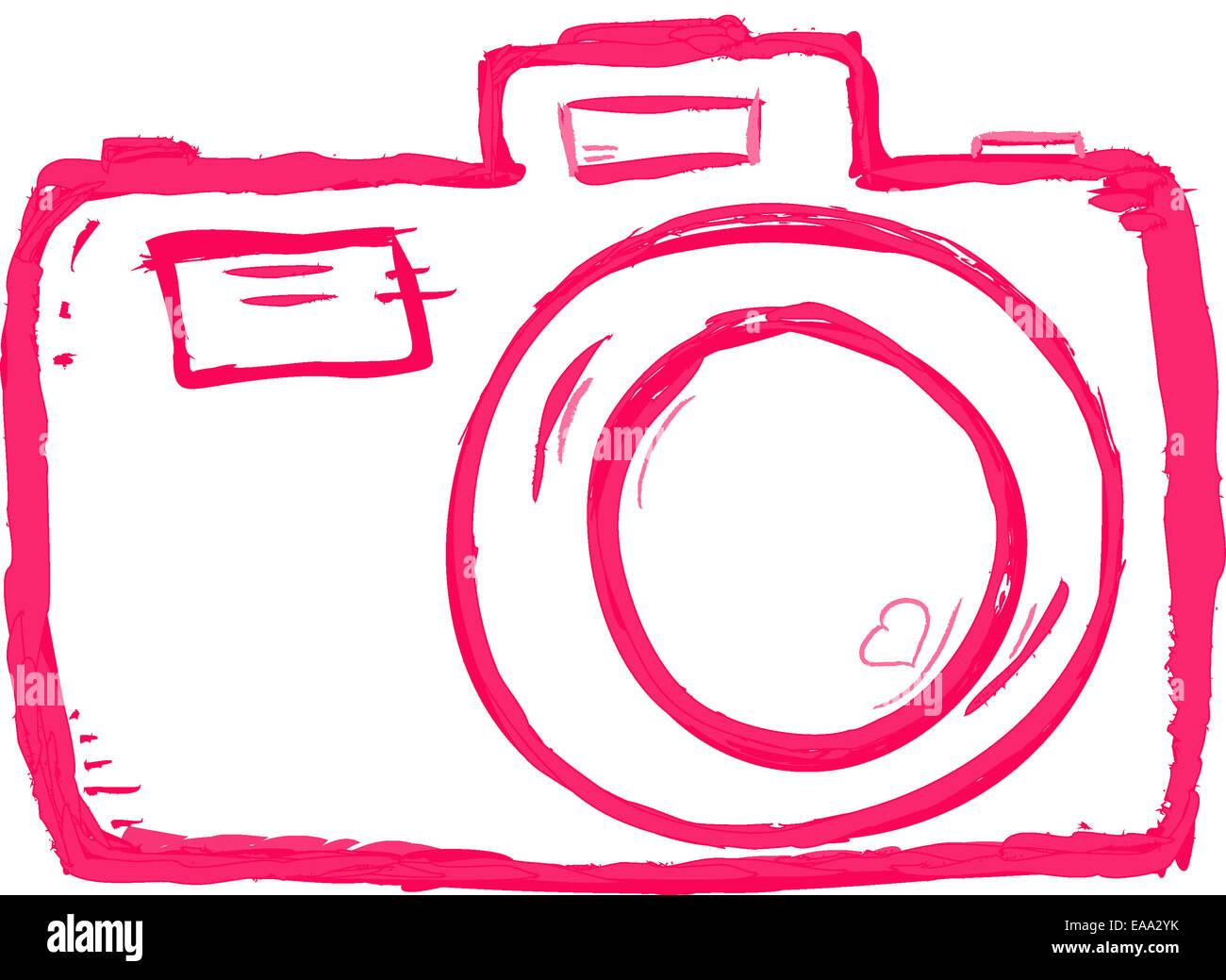 Fotocamera disegnati a mano su sfondo bianco Immagini Stock