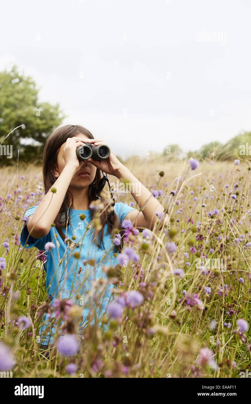 Una ragazza con un binocolo, una giovane bird watcher in piedi in un prato di erba alta e fiori selvatici. Immagini Stock