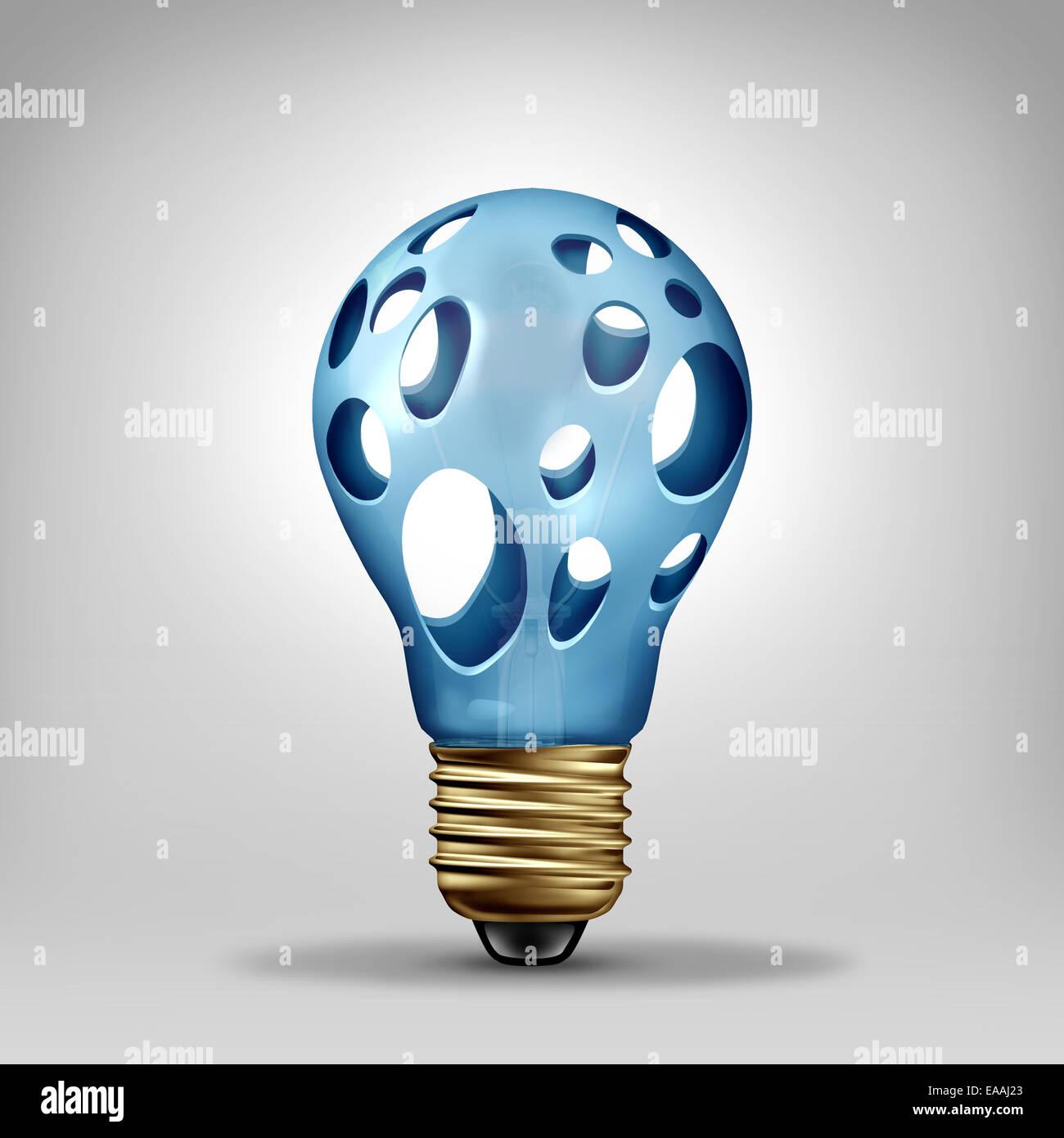 Idea problema il concetto di creatività e simbolo di crisi come una lampadina con fori vuoti come un icona per investire Foto Stock