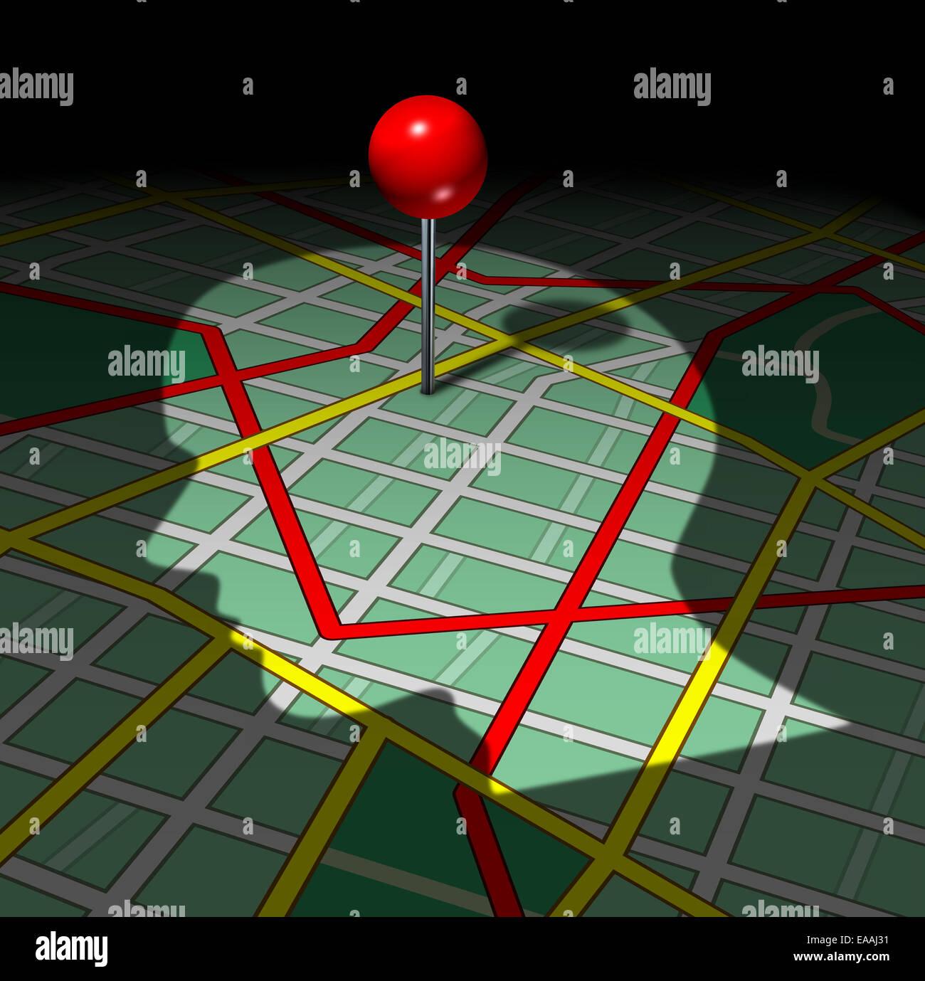 Umano mappa stradale e della vita il concetto di direzione come un ombra di persone faccia o testa gettata su di Immagini Stock