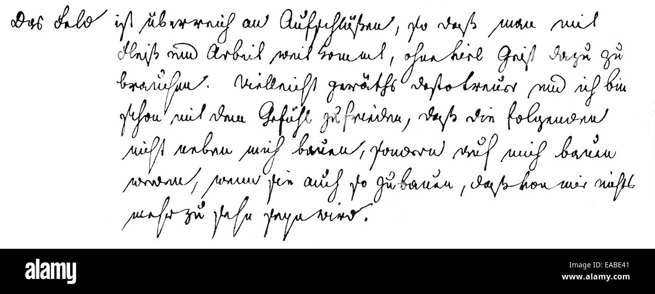 Autografo storico o la grafia di Jacob Ludwig Karl Grimm, 1785-1863, in lingua tedesca e studioso di letteratura Immagini Stock