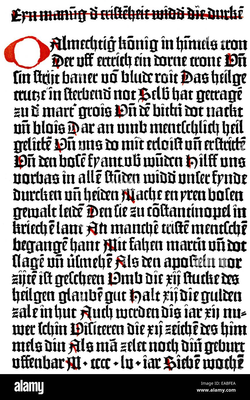 Stampa storico, prima il testo stampato con caratteri mobili, un avvertimento per la Cristianità contro i turchi, Immagini Stock