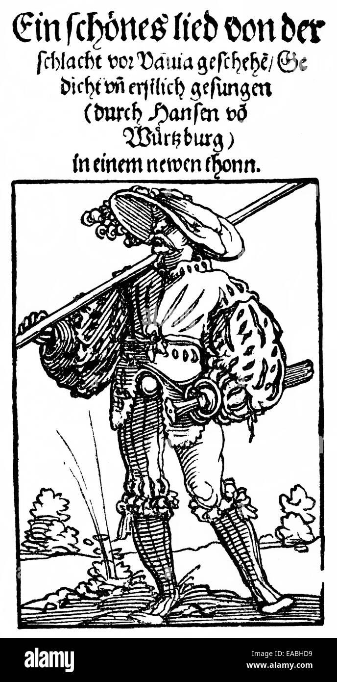 Pagina anteriore, libro di canzoni popolari del 1536, circa la battaglia di Pavia, Holzschnitt,Titel, Volkliederbuch Immagini Stock