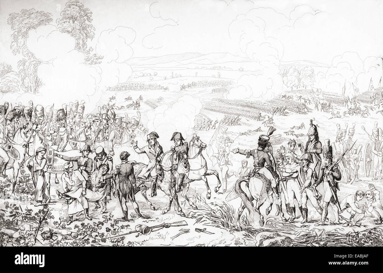 La Battaglia di Marengo, 14 giugno 1800, combattuto tra francesi e forze austriache. Immagini Stock