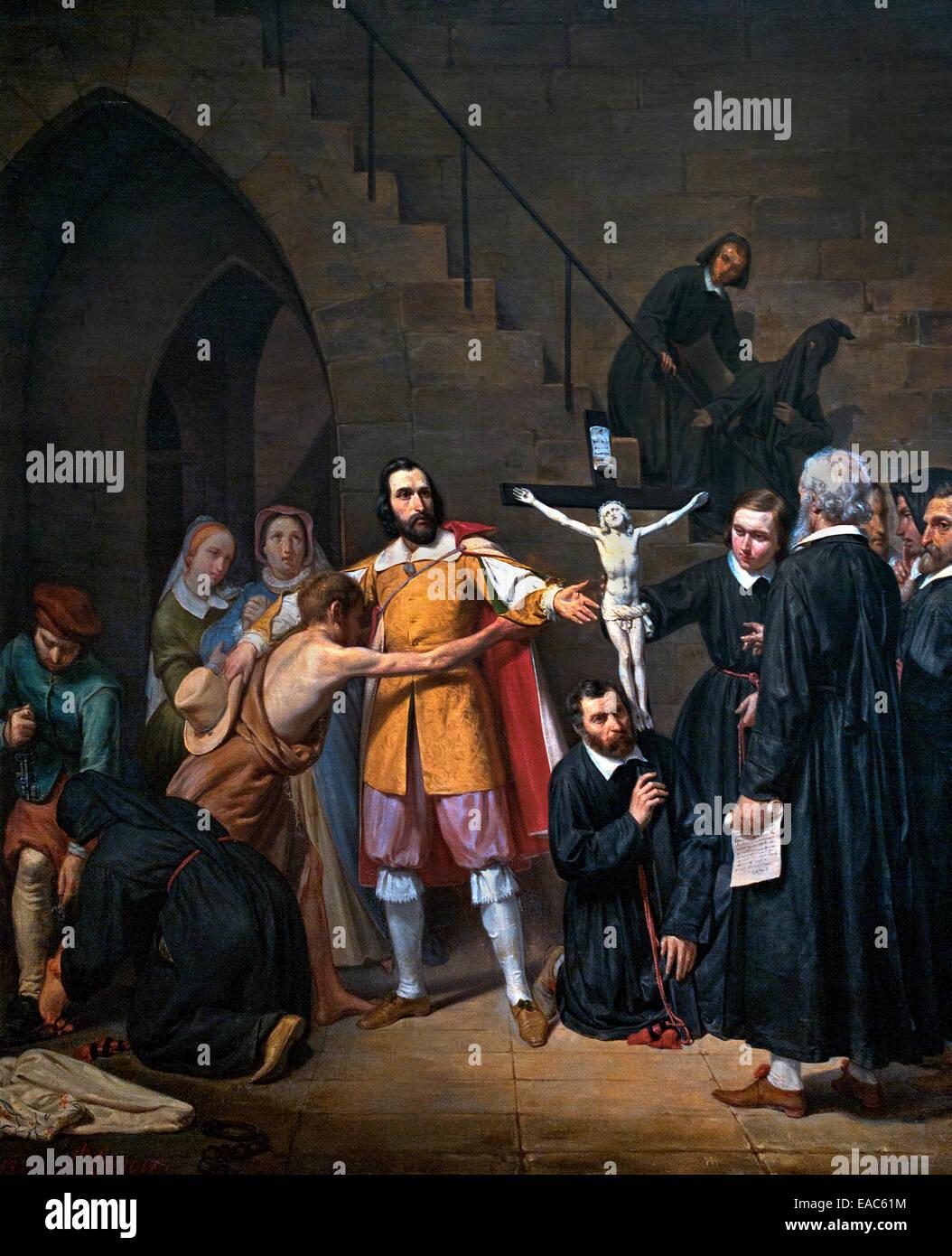 La leggenda del Cristo Nero dei penitenti 1841 Joseph Lacroix 1800-1880 Francia - Francese Immagini Stock