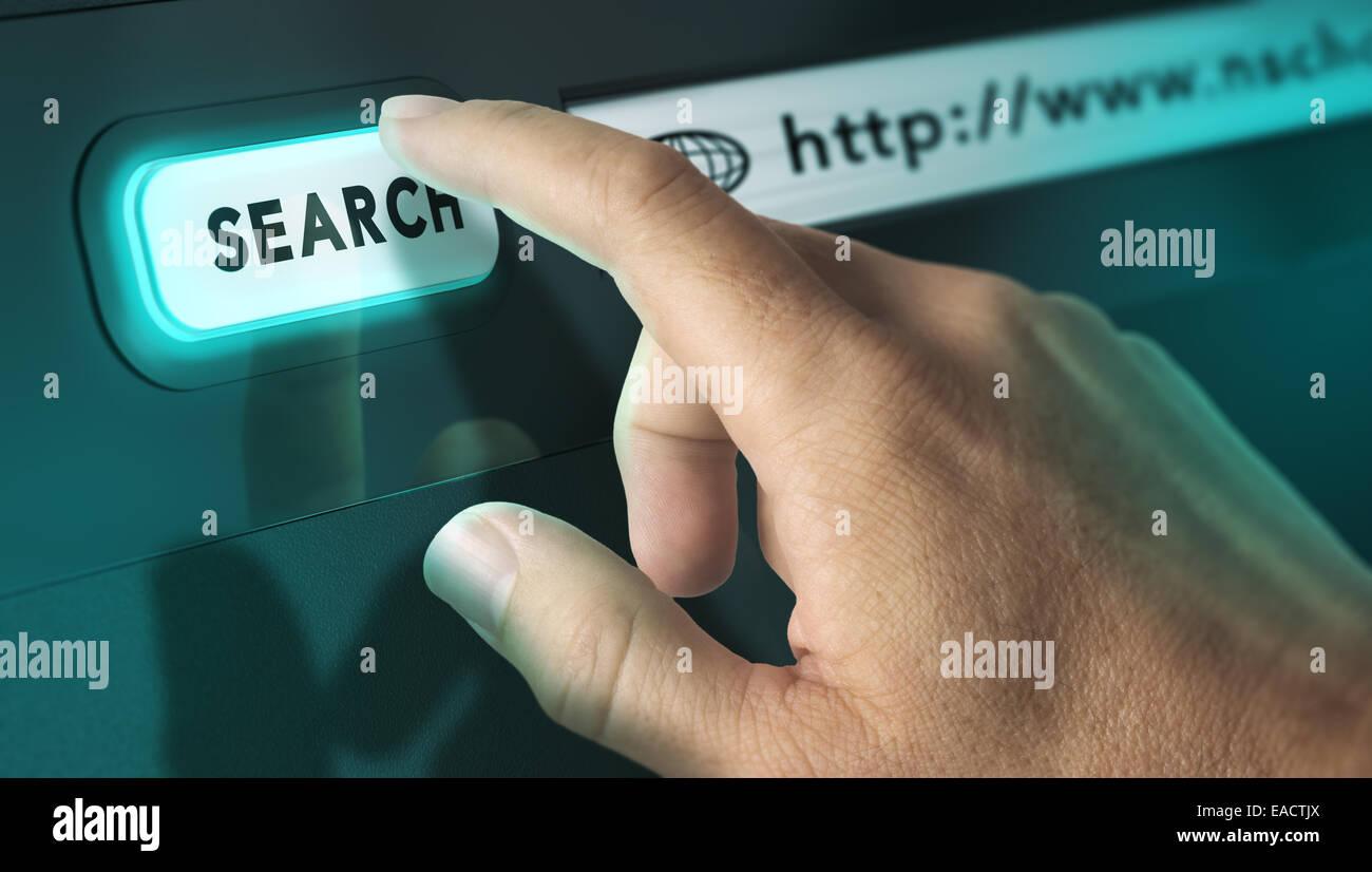Un dito che preme un motore di ricerca pulsante immagine, concetto di ricerca su internet e terminale interattivo. Foto Stock