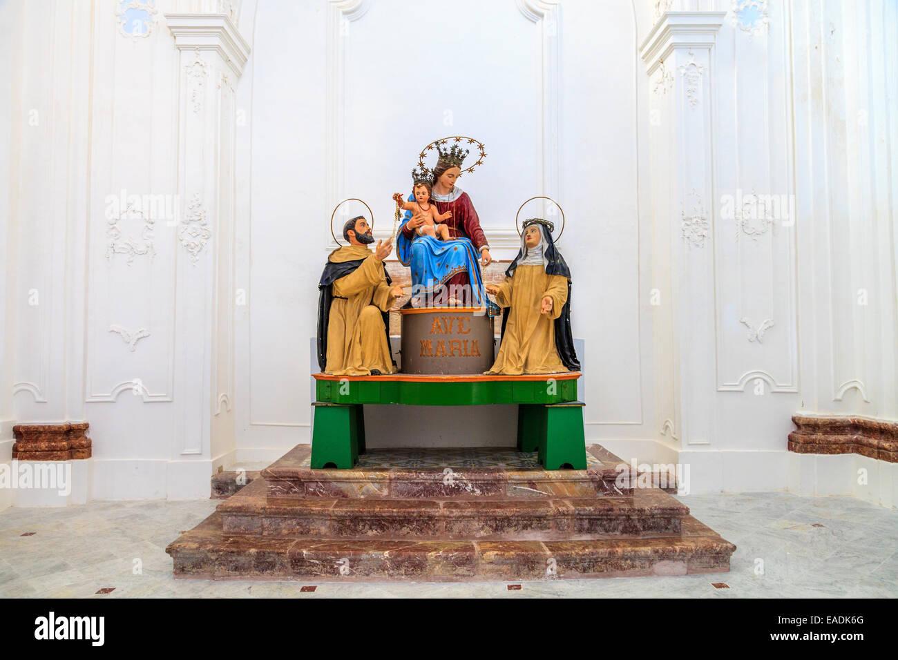 Madonna con santi in una chiesa di Lipari Immagini Stock