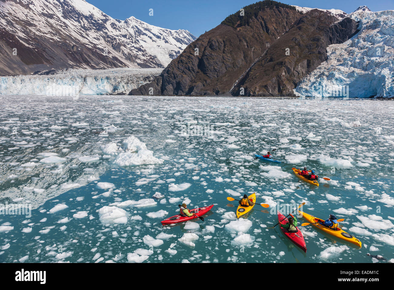 Alaska, ghiacciaio,Kayak,avventura Immagini Stock