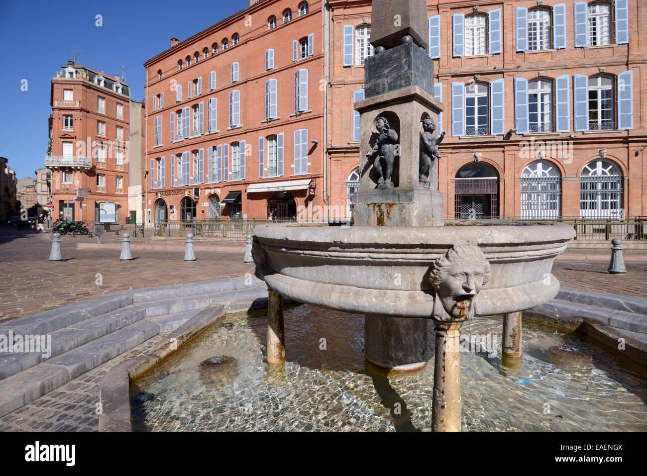 Street Fountain e mattoni rossi architettura su Place Etienne o piazza della città di Tolosa Haute-Garonne Immagini Stock