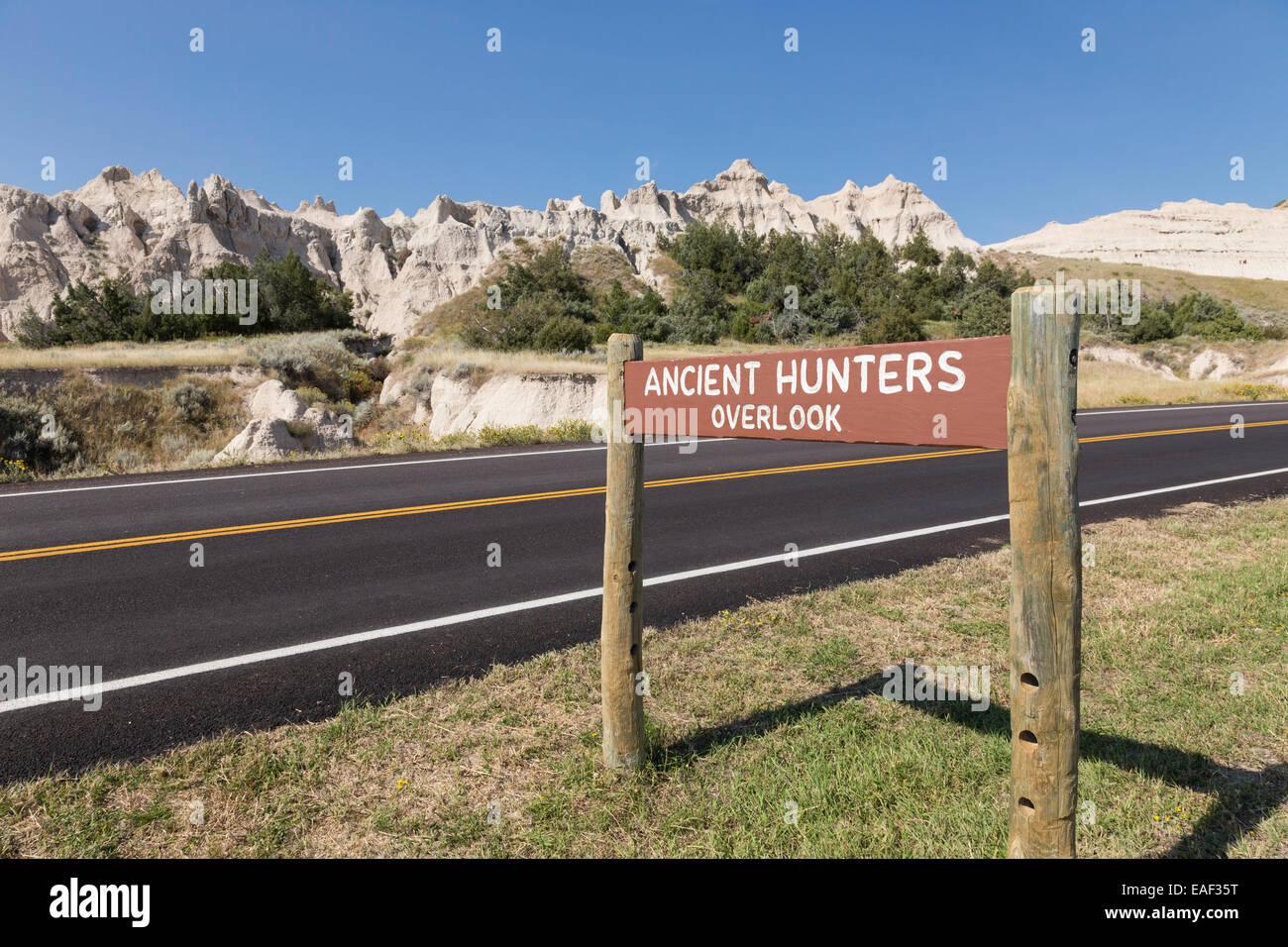 Strada nel Parco nazionale Badlands, SD, STATI UNITI D'AMERICA Immagini Stock
