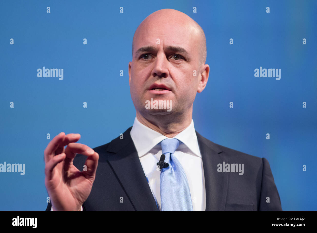 Fredrik Reinfeldt, leader del partito moderato-ex primo ministro di Svezia Immagini Stock