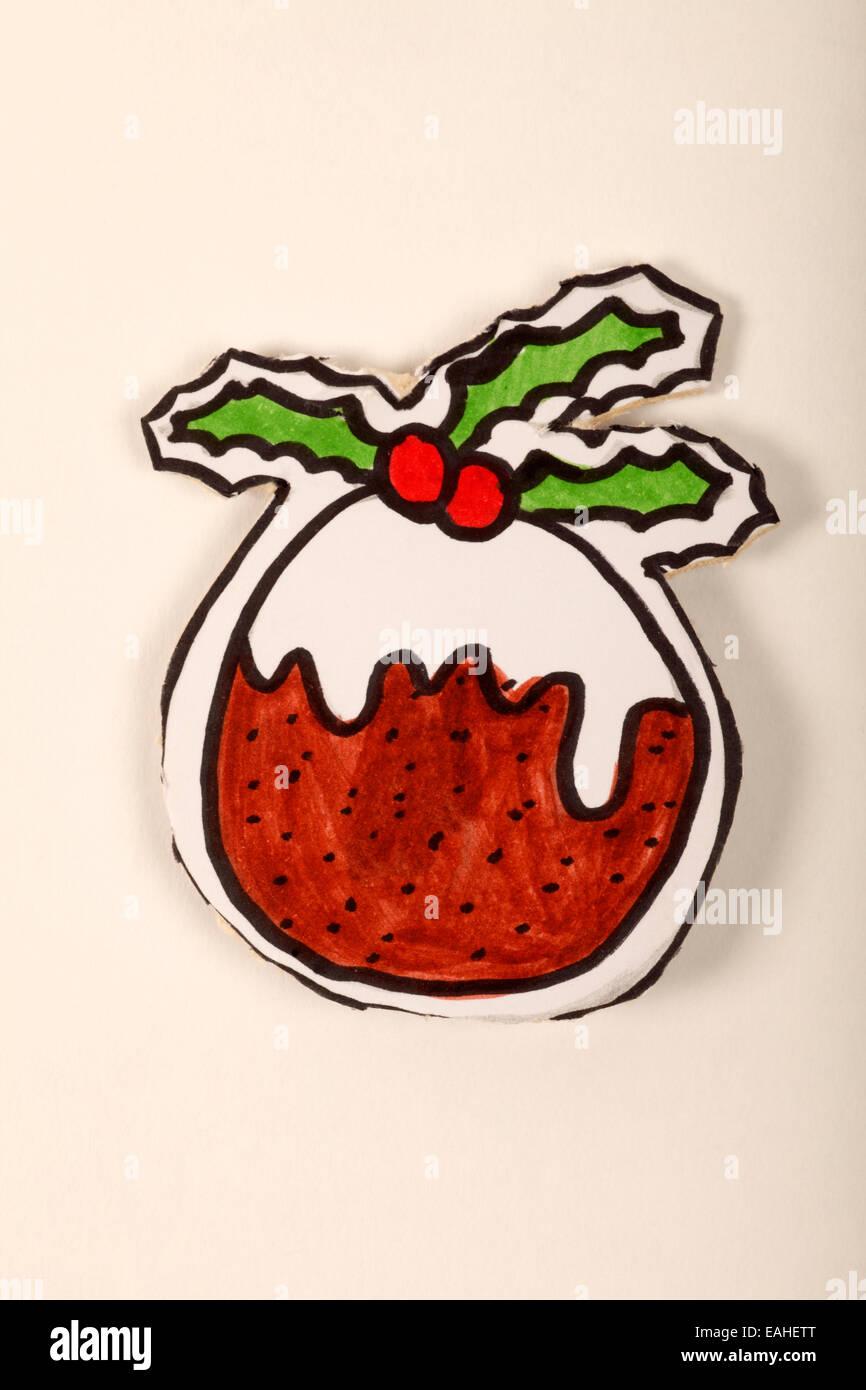 Cartoon illustrazione di una torta di Natale pudding Immagini Stock