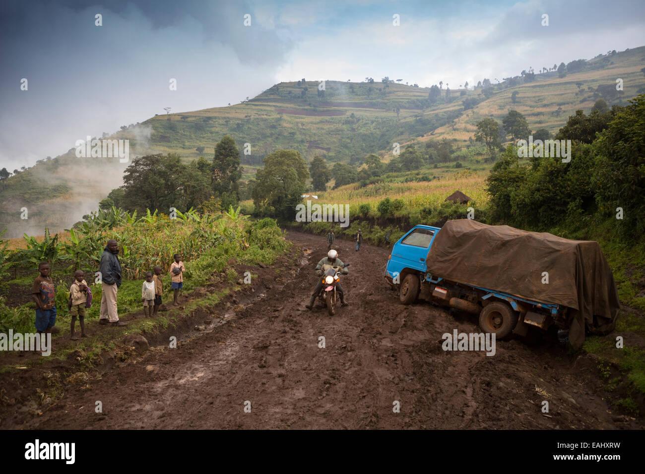 Le strade del distretto di Bukwo Uganda, situato sulle pendici del Monte Elgon, diventare impassibile durante i Immagini Stock