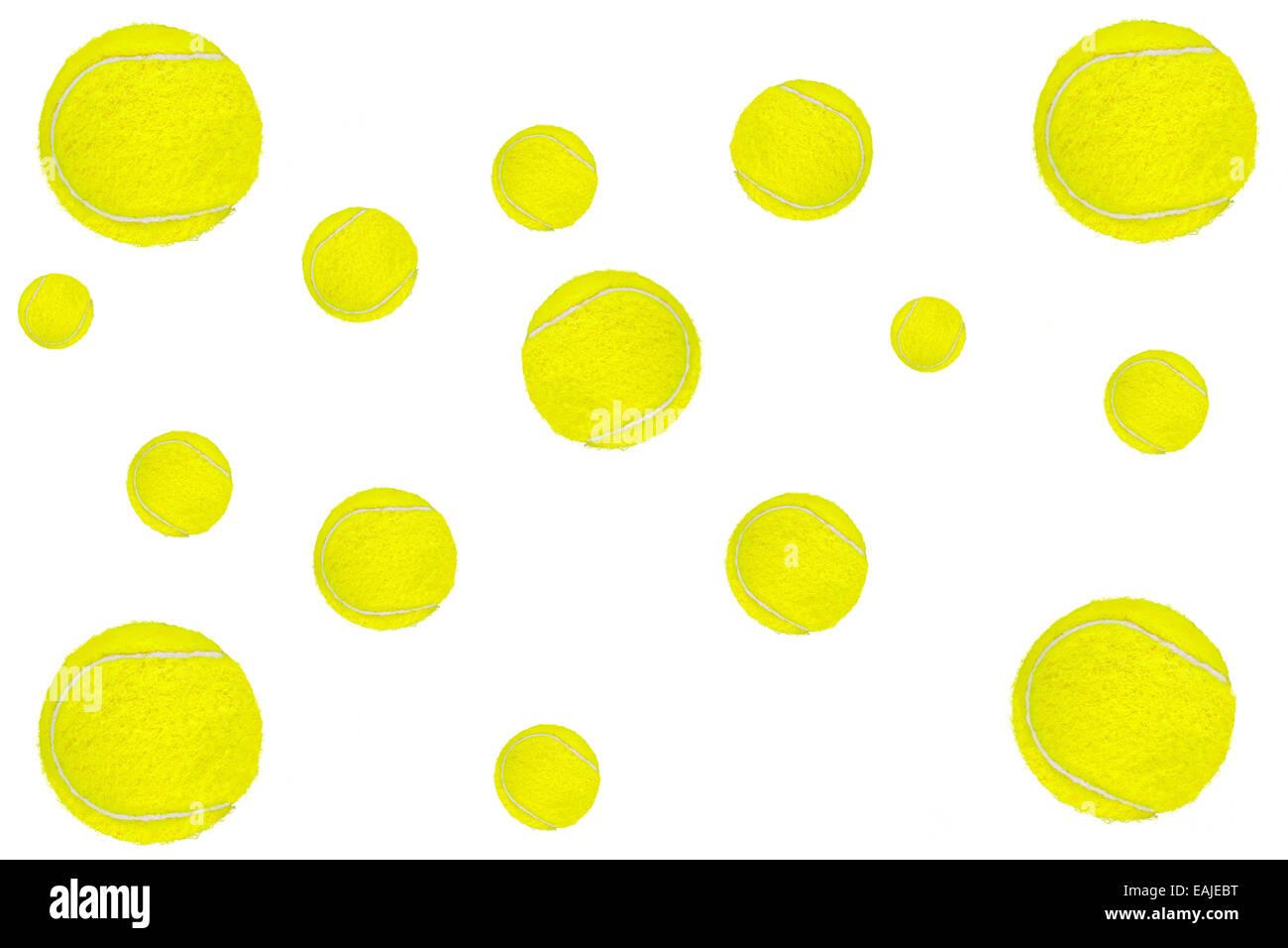 Sfondo costituito di palle da tennis su bianco. Immagini Stock