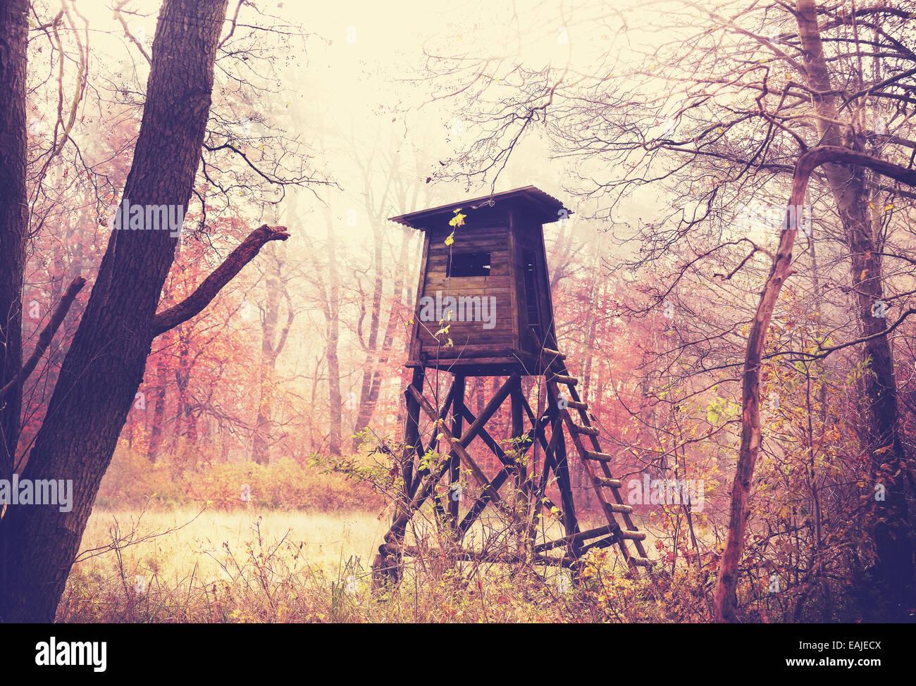 Vintage foto filtrata del pulpito di caccia nella foresta. Immagini Stock