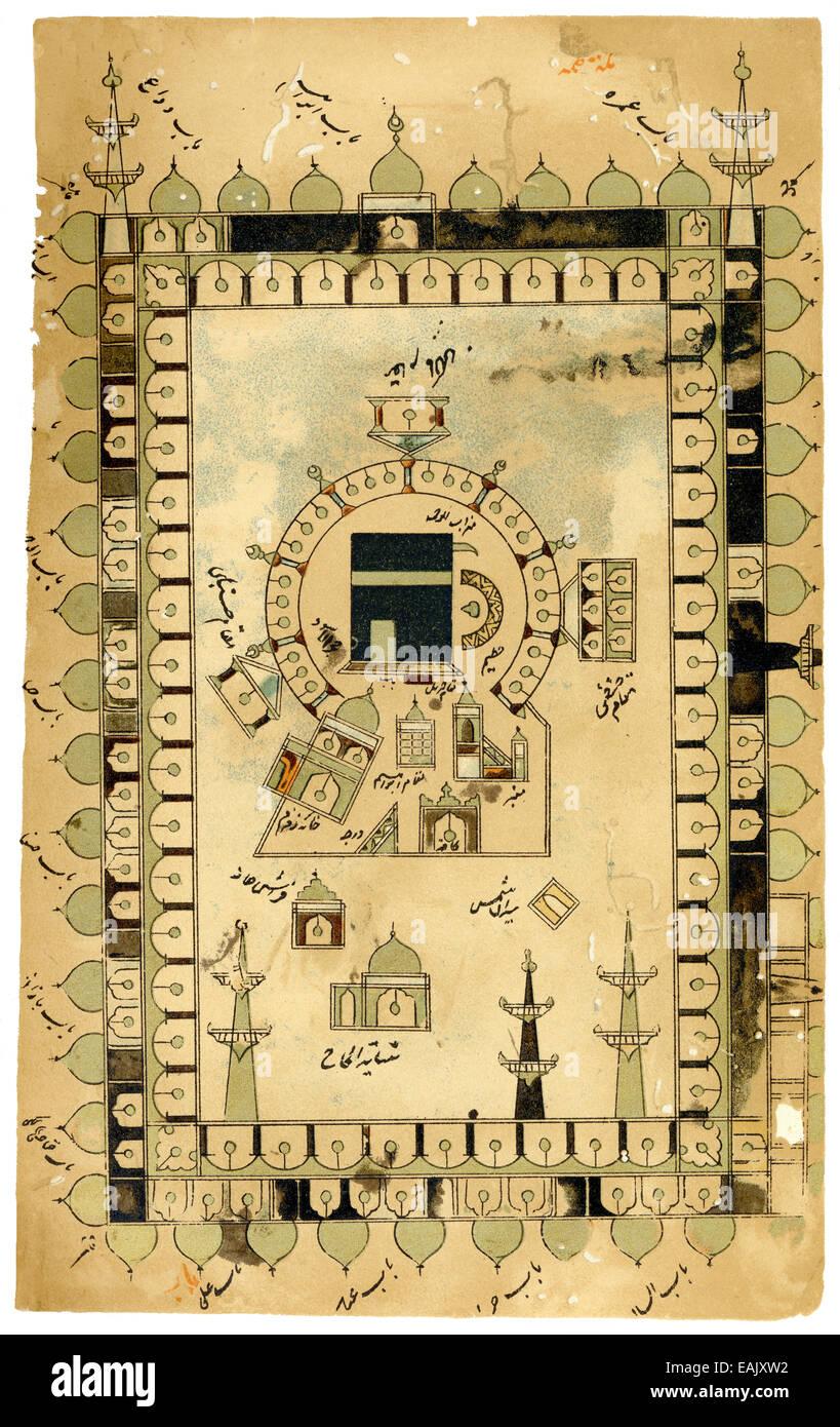 Il facsimile dal persiano pellegrini prenota Futuh el hara-Muhyi, manoscritto del 1576, la moschea e la Kaaba della Immagini Stock
