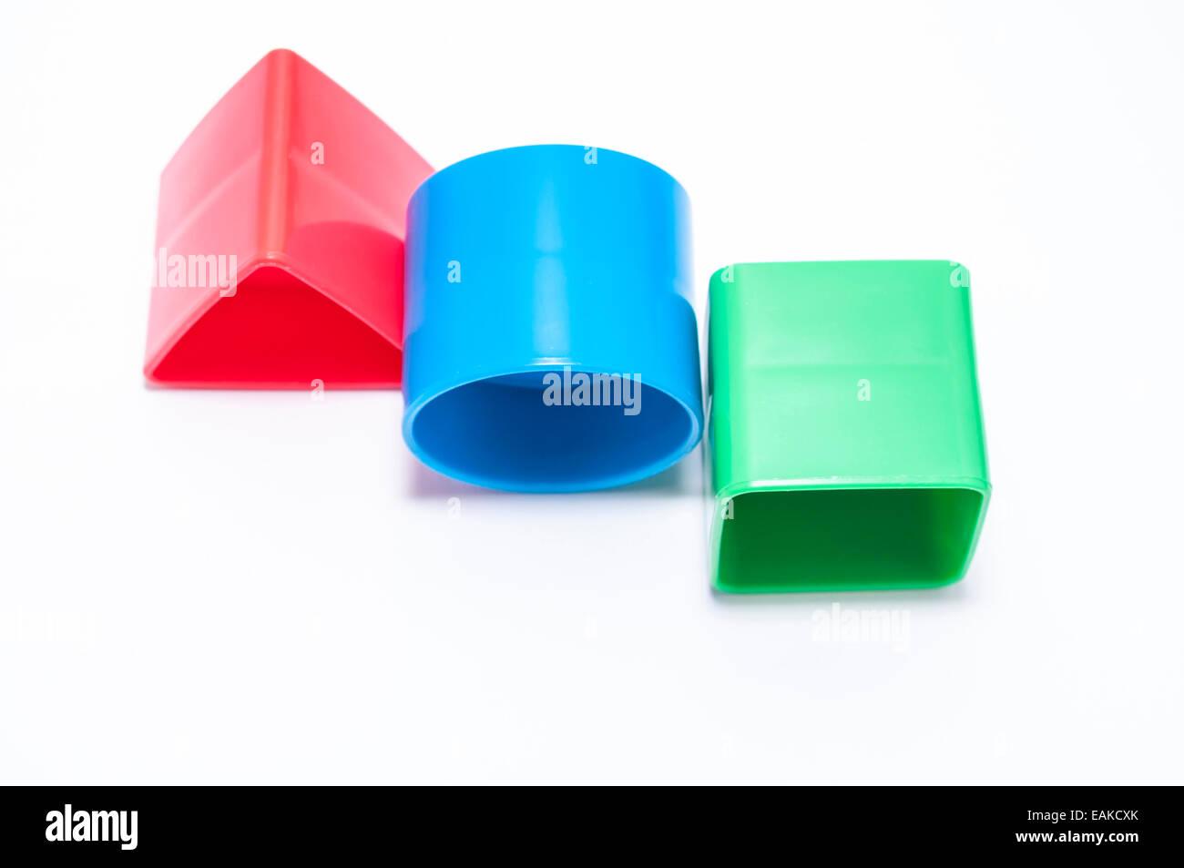 Tre forme geometriche su sfondo bianco Immagini Stock