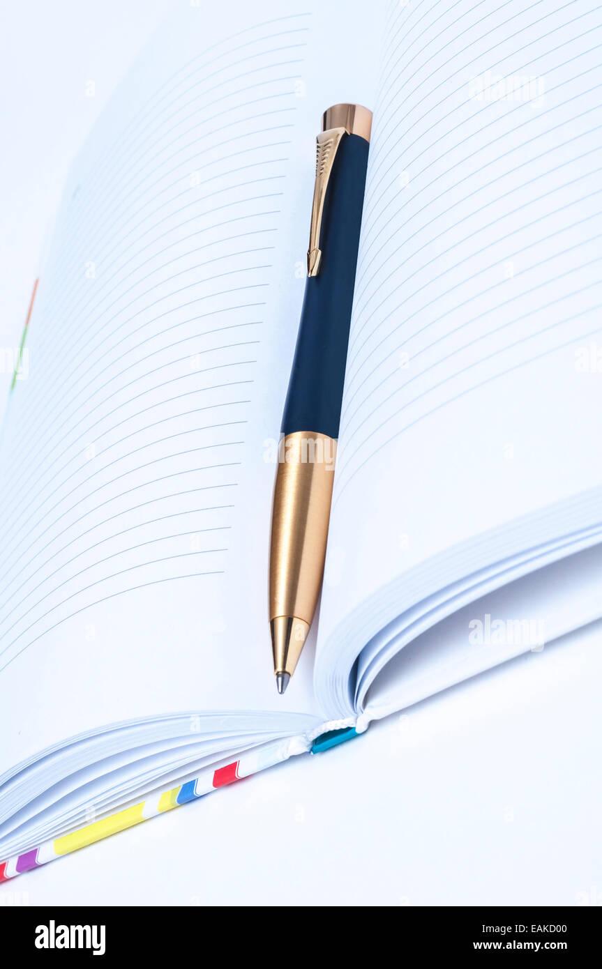 Notebook nero e la penna nera con una piuma d'oro Immagini Stock