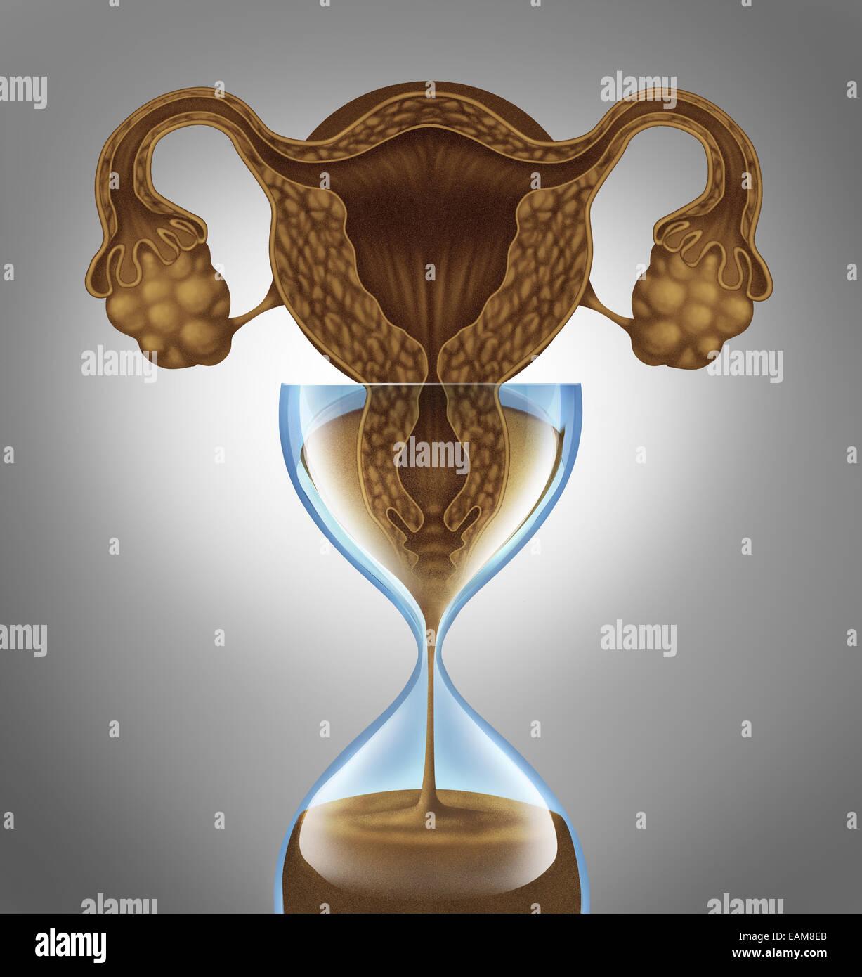Femmina orologio biologico nozione come un utero e ovaie dall'anatomia di una donna come la caduta di sabbia Immagini Stock