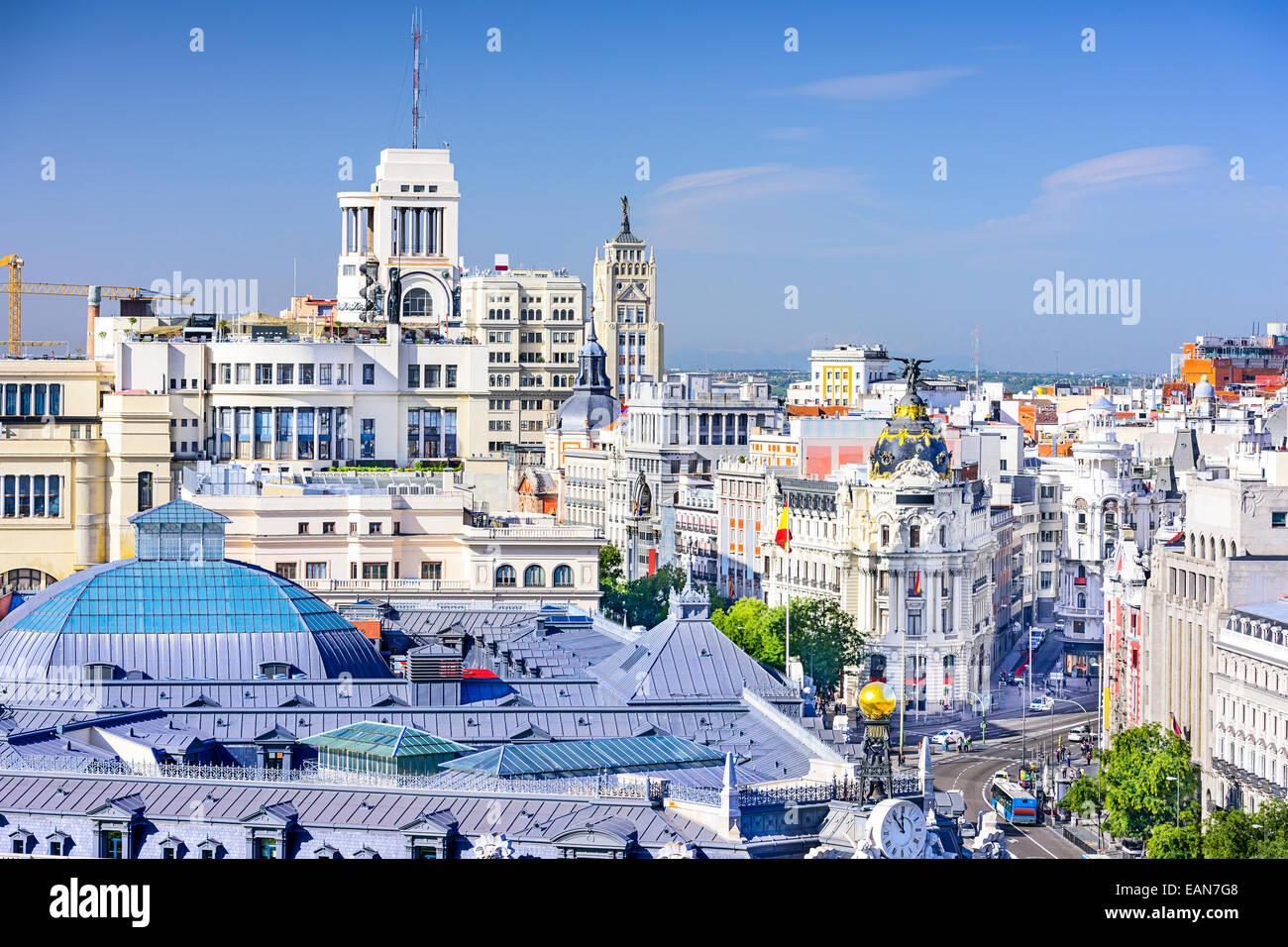 Madrid, Spagna cityscape sulla Gran Via. Immagini Stock