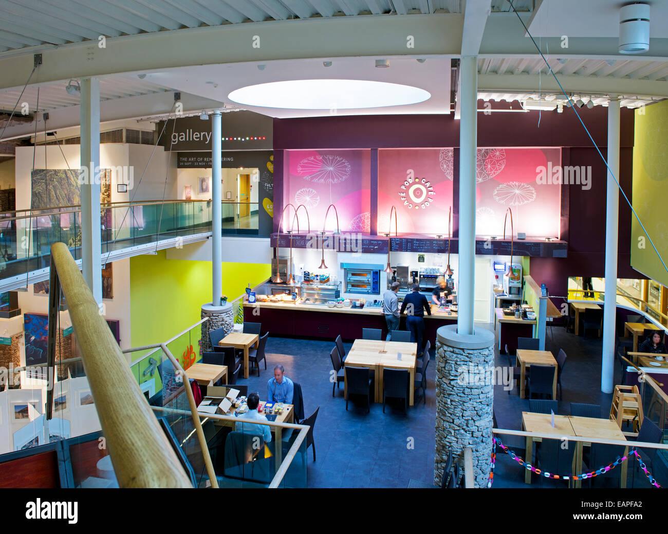 Cafe in corrispondenza di Rheged, Lake District attrazione, vicino a Penrith, Cumbria, Regno Unito Inghilterra Immagini Stock