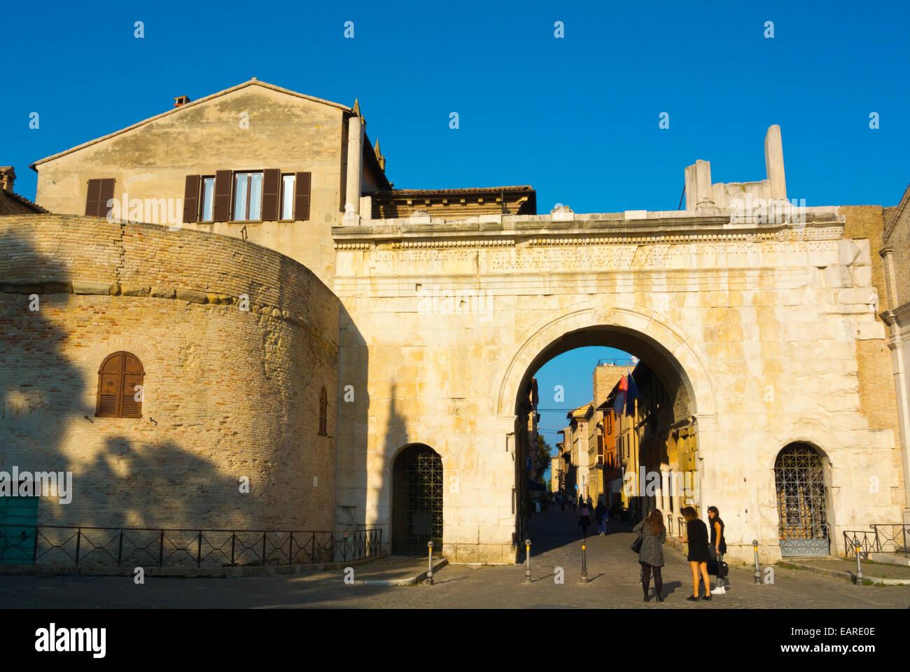 Arco di Augusto, Arco di Augusto, Fano, Regione Marche, Italia Immagini Stock