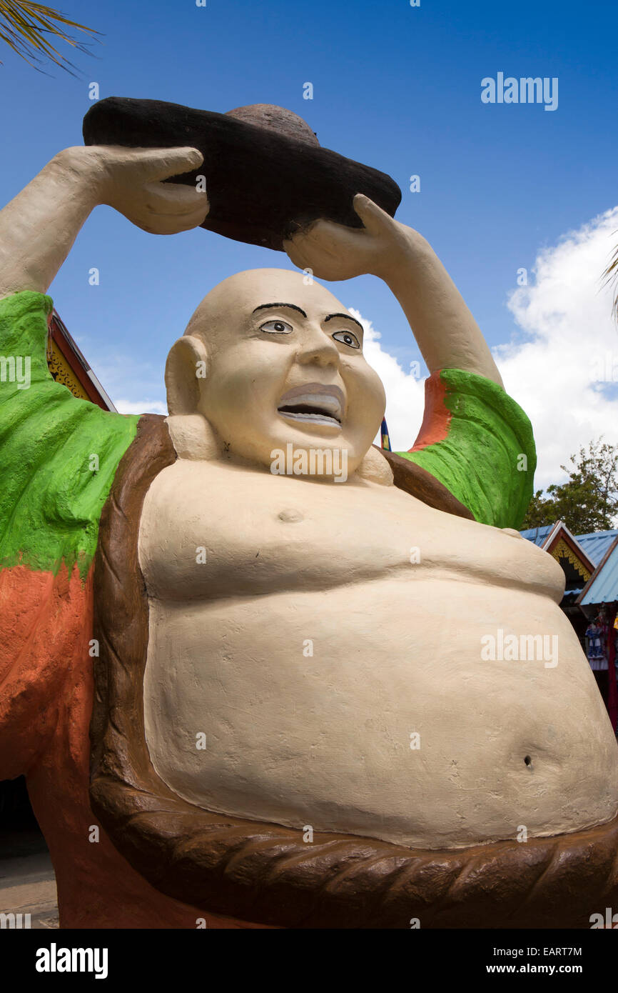 Mauritius Grand Baie, Bazaar, Felice Buddha Sorridente con le braccia sollevate il feng shui figura Immagini Stock