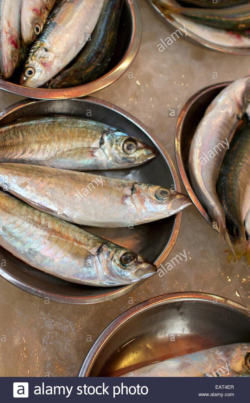 Il pesce in vendita su un mercato di strada nel quartiere centrale. Foto Stock