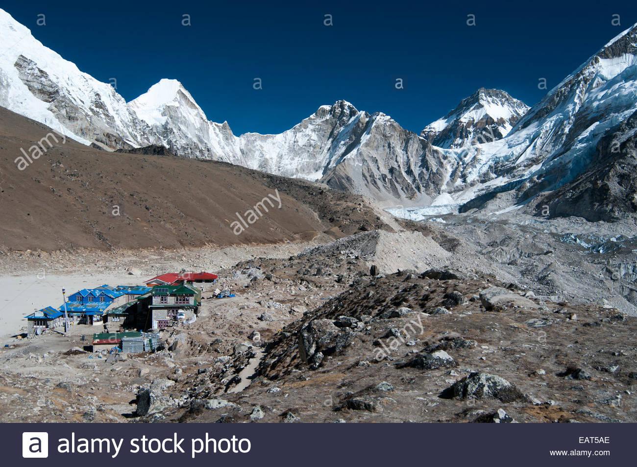 Gorek Shep è l'ultimo insediamento sul campo base Everest trek Immagini Stock