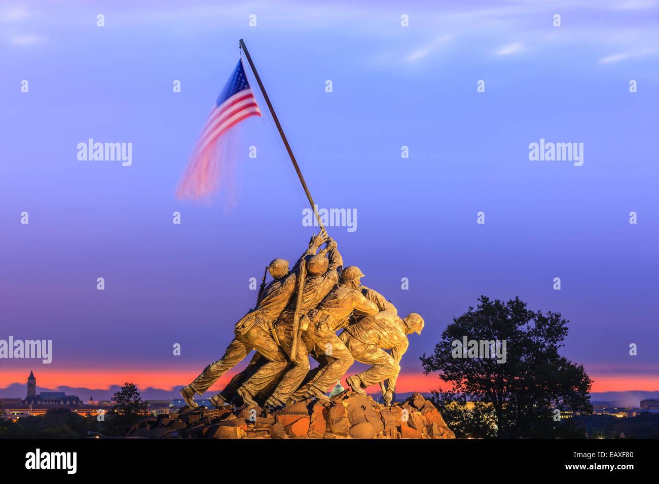 US Marine Corps War Memorial, noto anche come il Memorial Iwo-Jima ad Arlington, Virginia, Stati Uniti d'America. Immagini Stock
