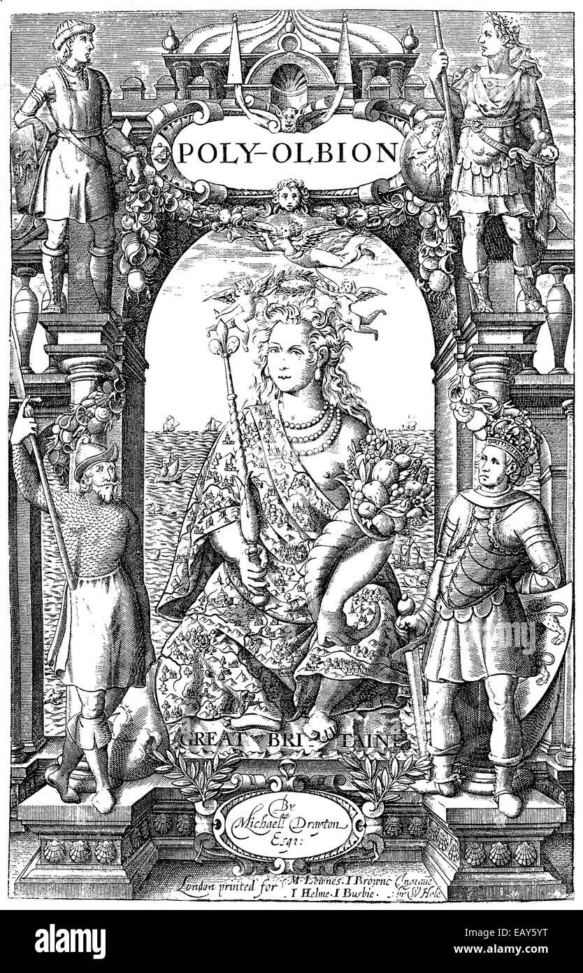 Il titolo della prima edizione di Poly-Olbion, 1613, da Michael Drayton, 1563 - 1631, un poeta inglese del Elizabethan Immagini Stock