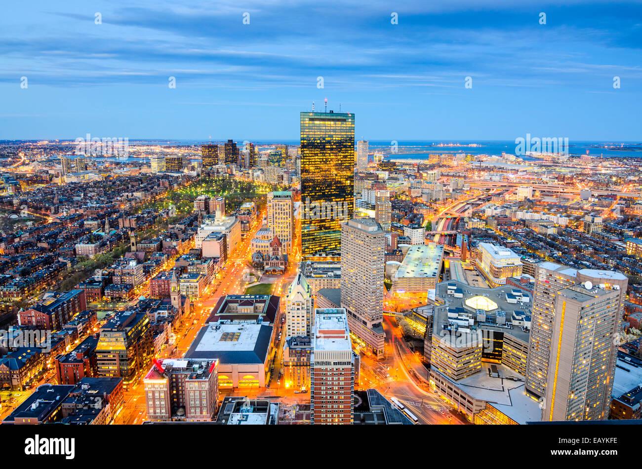 Boston, Massachusetts, STATI UNITI D'AMERICA vista aerea del centro città. Immagini Stock