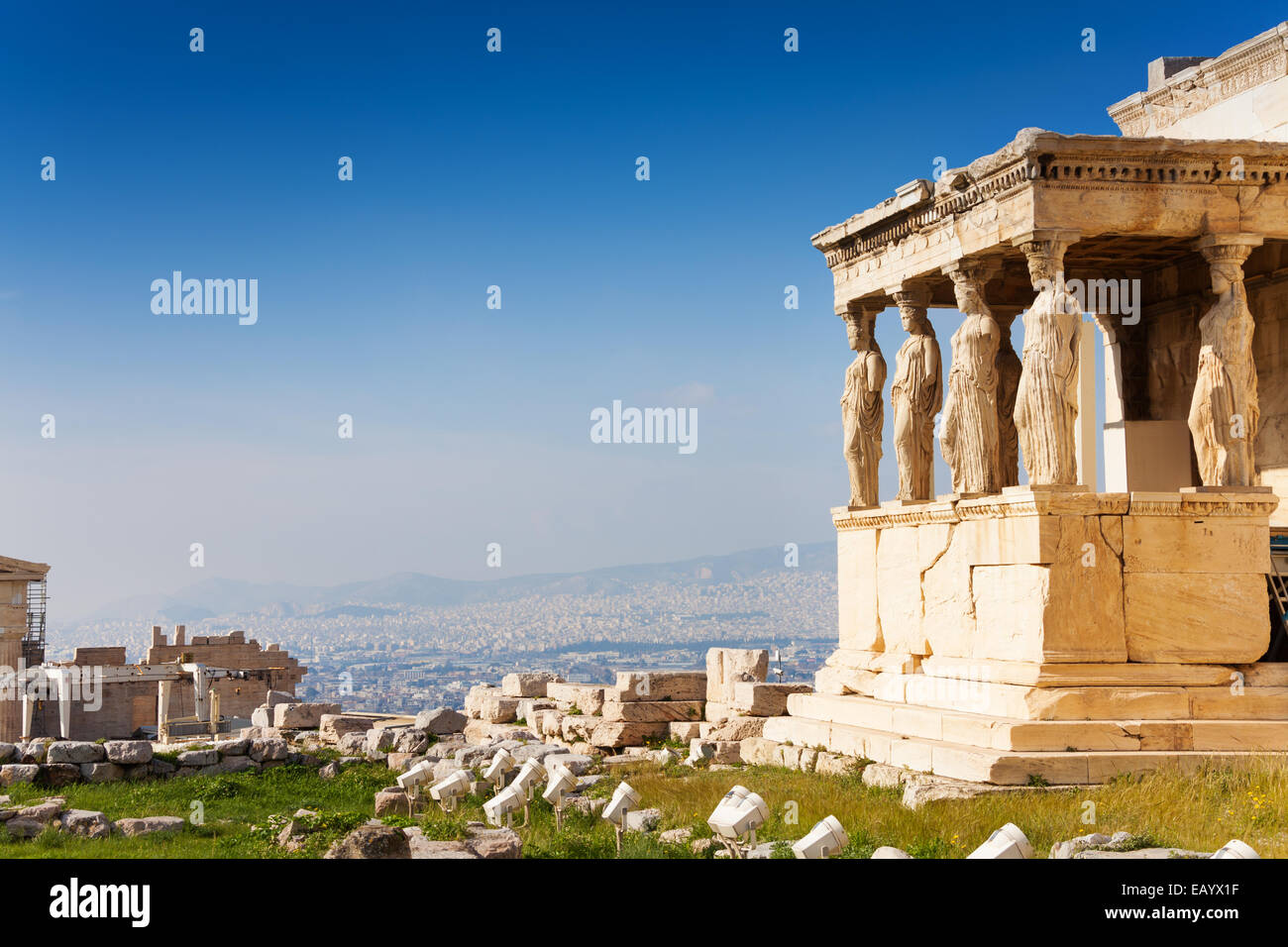 Bellissima vista dell'Eretteo di Atene, Grecia Immagini Stock