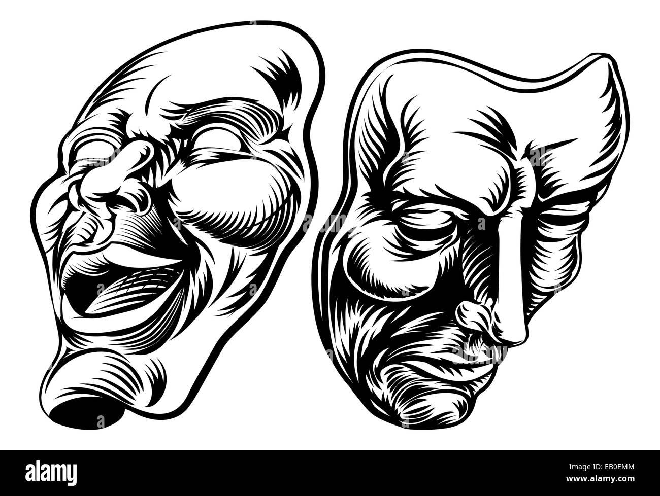 tecnologie sofisticate goditi il prezzo più basso scarpe eleganti Un disegno originale di maschere teatrali, la commedia e la ...